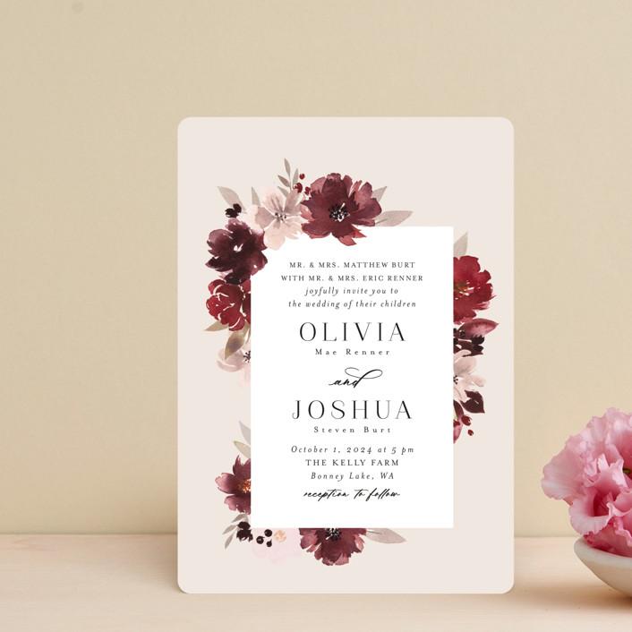 """Emyn"" - Wedding Invitation Petite Cards in Burgundy by Itsy Belle Studio."