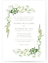 This is a green petite wedding invitation by Leah Bisch called Verdure with standard printing on signature in petite.