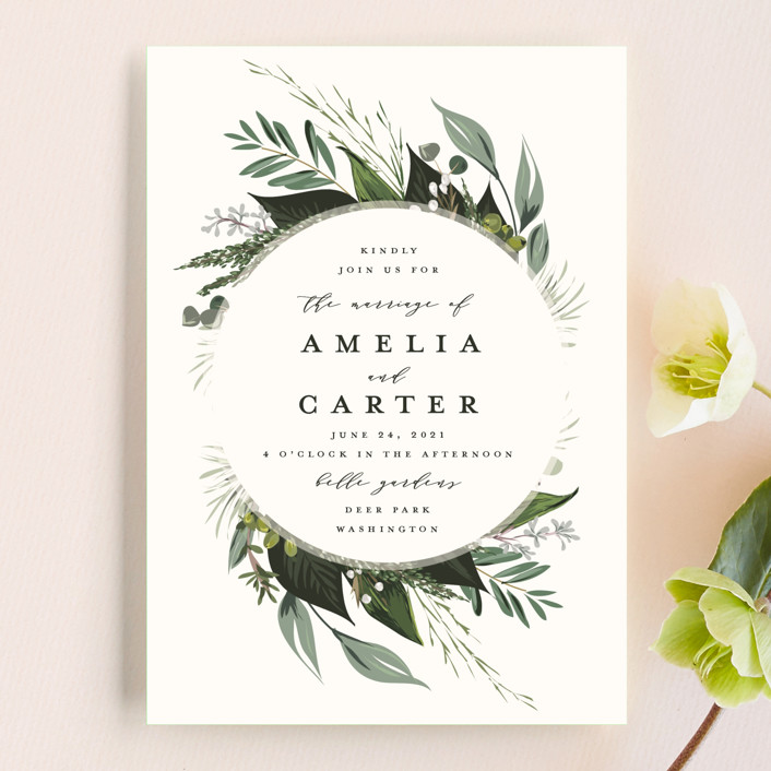 """Natures Greens"" - Wedding Invitation Petite Cards in Ivory by Susan Moyal."