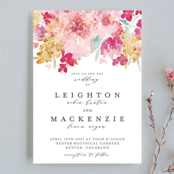 """Spring Garden"" - Wedding Invitation Petite Cards in Petal by Grace Kreinbrink."