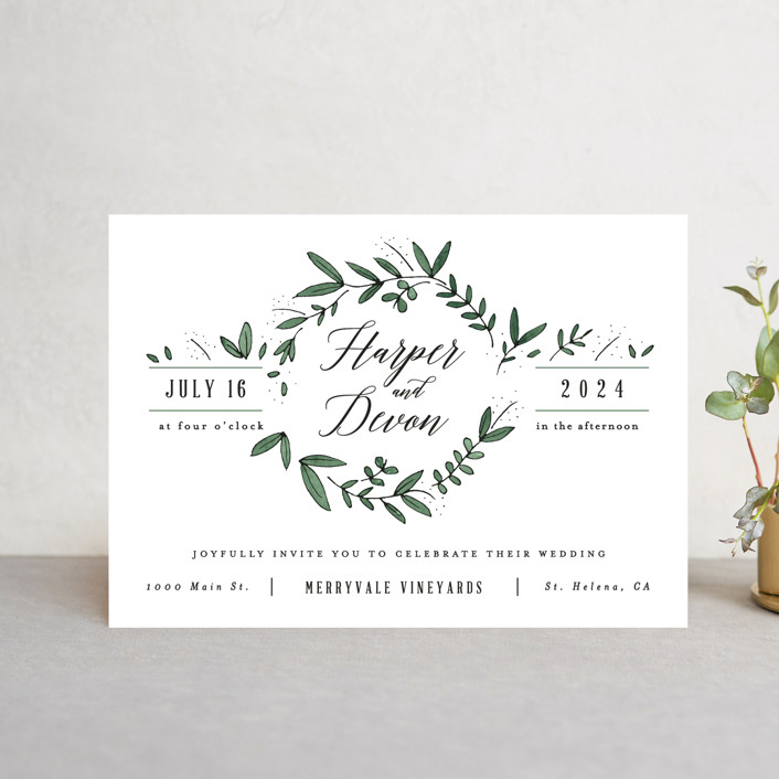 """""""Floral Wreath"""" - Wedding Invitation Petite Cards in Fresh by Kelly Schmidt."""