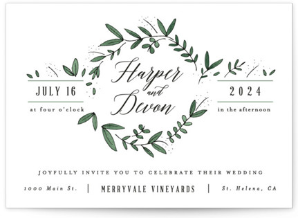 Floral Wreath Wedding Invitation Petite Cards