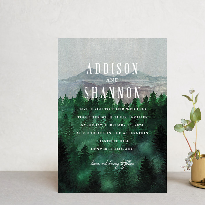 """""""Adventure Awaits"""" - Rustic Wedding Invitation Petite Cards in Smoke by Elly."""