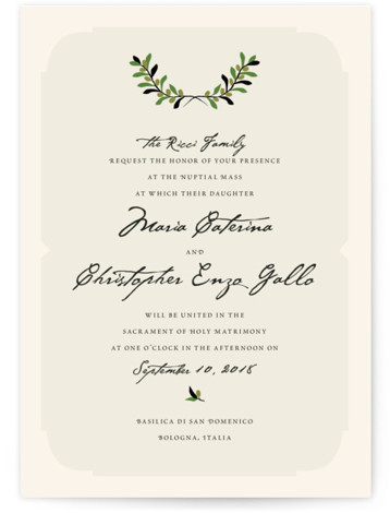 This is a portrait botanical, green Wedding Invitations by Yolanda Mariak Chendak called Italiano with Standard printing on Signature in Petite Flat Card format. Created for you by Minted's global community of designers our invitation designs will set the perfect ...