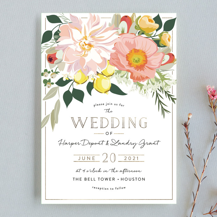 """Spring Blooms"" - Wedding Invitation Petite Cards in Blush by Susan Moyal."