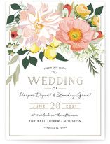 This is a pink petite wedding invitation by Susan Moyal called Spring Blooms with standard printing on signature in petite.