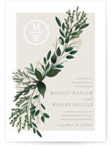 This is a green petite wedding invitation by Kaydi Bishop called Watermark with standard printing on signature in petite.