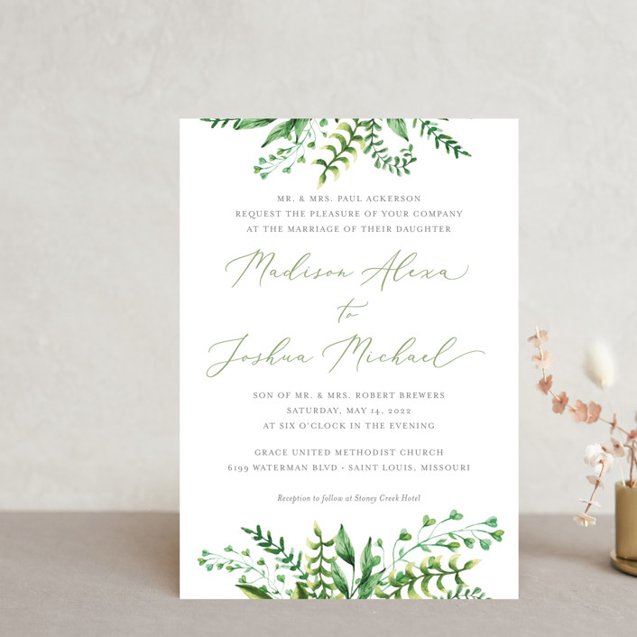 """""""Bright & Green"""" - Wedding Invitation Petite Cards in Spring by Amanda Day."""
