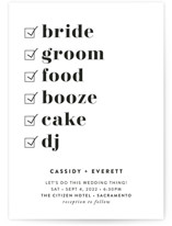 This is a black and white petite wedding invitation by Christie Garcia called Key Ingredients with standard printing on signature in petite.