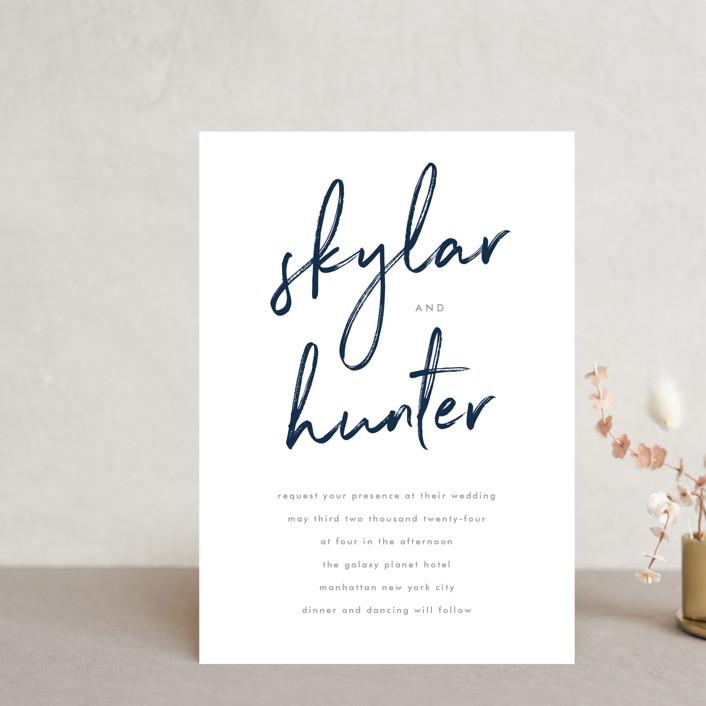 """Funky Names"" - Wedding Invitation Petite Cards in Navy by Phrosne Ras."