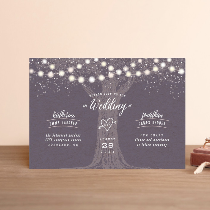 """Garden Lights"" - Rustic Wedding Invitation Petite Cards in Plum by Hooray Creative."