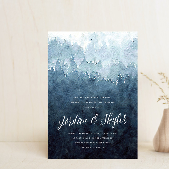 """Mountain Retreat"" - Rustic Wedding Invitation Petite Cards in Evening Sky by Design Lotus."