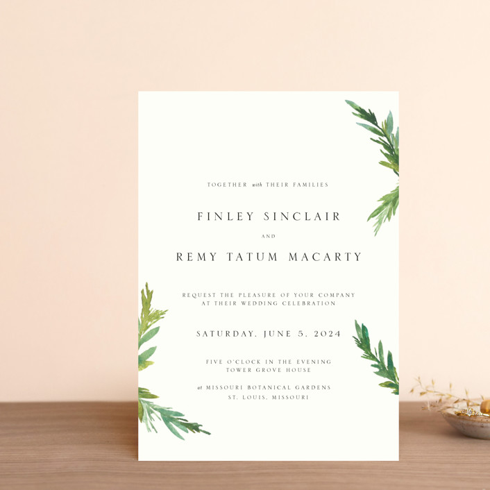 """Simple Pine Branches"" - Rustic Wedding Invitation Petite Cards in Vanilla by Nikkol Christiansen."