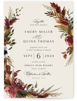 This is a orange petite wedding invitation by Kate Ahn called poetique with standard printing on signature in petite.