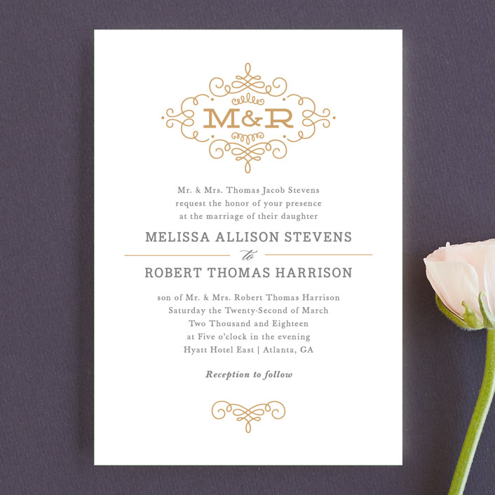 """Ornate Monogram"" - Preppy Wedding Invitation Petite Cards in Faux Gold by Kristen Smith."