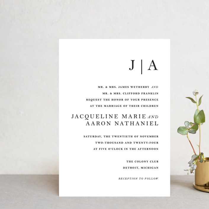 """""""Sophistotype"""" - Wedding Invitation Petite Cards in Sea Salt by Snow and Ivy."""