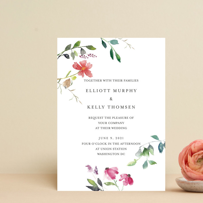 """Spring Wildflowers"" - Wedding Invitation Petite Cards in Pink Floral by Mere Paper."