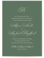 This is a green petite wedding invitation by Jennifer Postorino called Initial with standard printing on signature in petite.