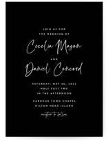 This is a black petite wedding invitation by Lea Delaveris called In this together with standard printing on signature in petite.