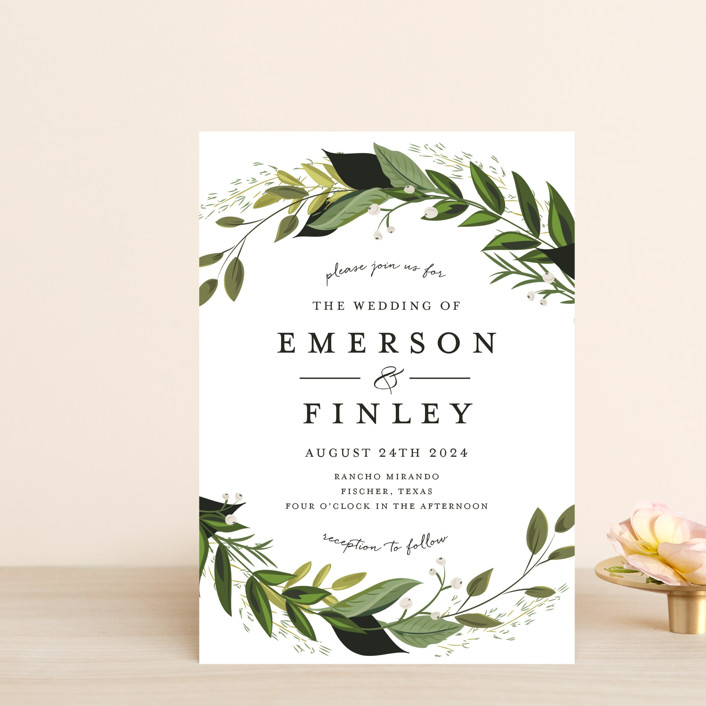 """Vines of Green"" - Wedding Invitation Petite Cards in Fern by Susan Moyal."