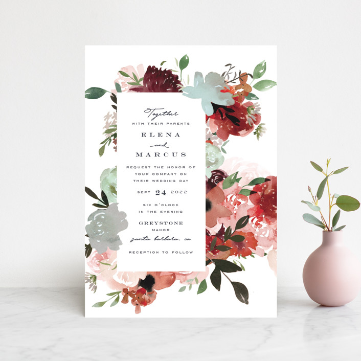 """Cascading Florals"" - Wedding Invitation Petite Cards in Rouge by Leah Bisch."