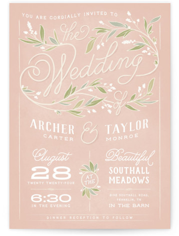 This is a portrait ivory, pink, green Wedding Invitations by GeekInk Design called Rustic Love with Standard printing on Signature in Petite Flat Card format. A rustic styled wedding invite featuring a beautiful script font with leaf and branch details. ...