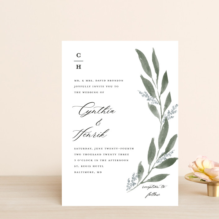 """Pressed Foliage"" - Wedding Invitation Petite Cards in Heather by Stacey Meacham."