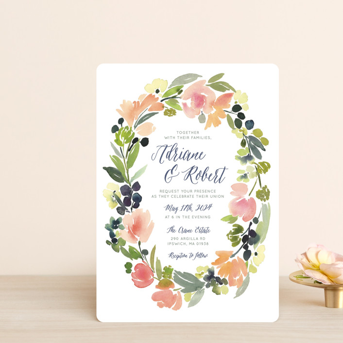 """Watercolor Wreath"" - Wedding Invitation Petite Cards in Grapefruit by Yao Cheng Design."