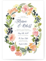 This is a pink petite wedding invitation by Yao Cheng Design called Watercolor Wreath with standard printing on signature in petite.