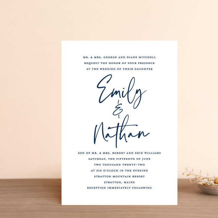 """Semi Formal"" - Wedding Invitation Petite Cards in Navy by Paper Dahlia."