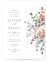 This is a white petite wedding invitation by Jennifer Wick called Golden Hour with standard printing on signature in petite.