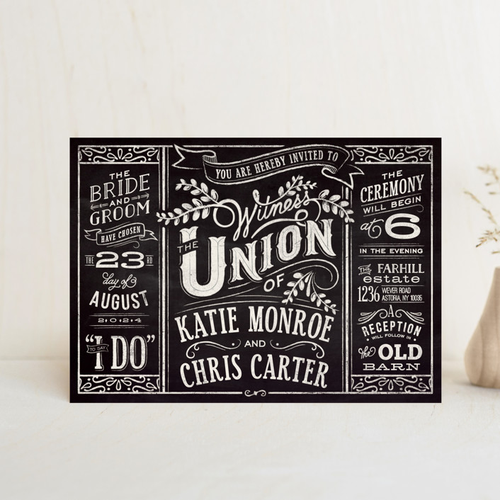 """Slated Forever"" - Rustic Wedding Invitation Petite Cards in Chalkboard by GeekInk Design."
