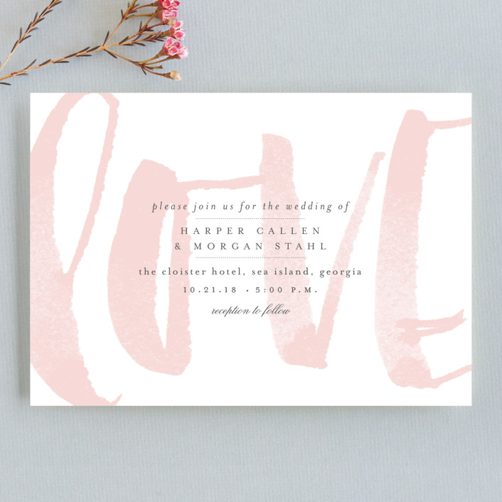 """Bare Love"" - Modern Wedding Invitation Petite Cards in Blush by Sara Hicks Malone."