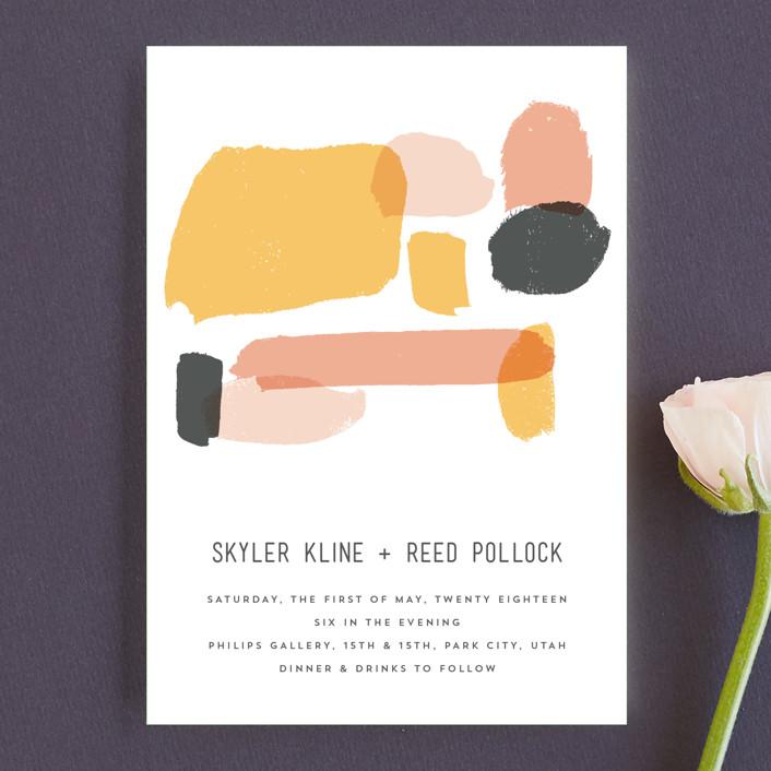"""Brush"" - Modern Wedding Invitation Petite Cards in Carnation by Half Pint Studio."
