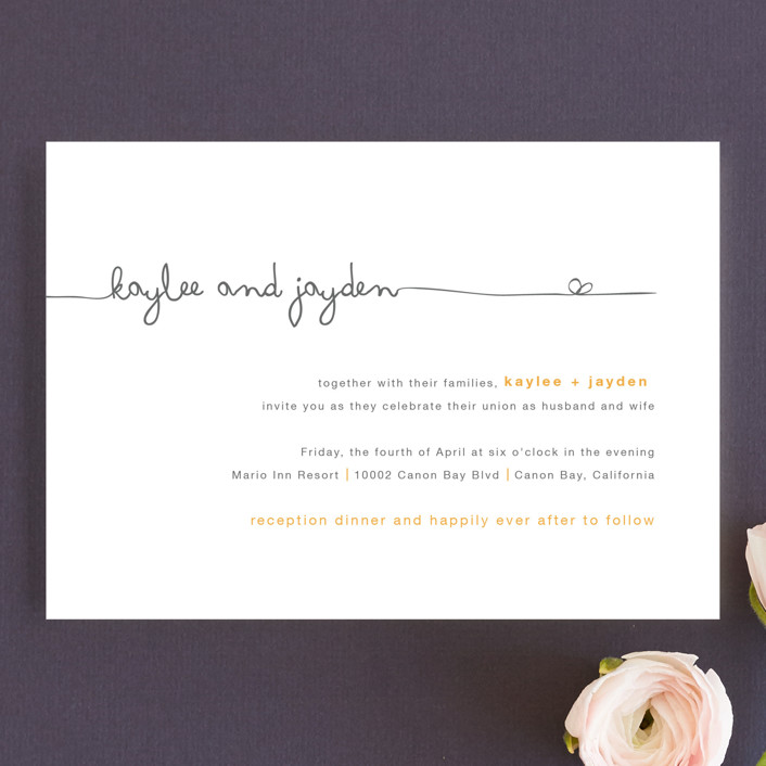"""The Happy Couple"" - Whimsical & Funny Wedding Invitation Petite Cards in Tangerine by R studio."