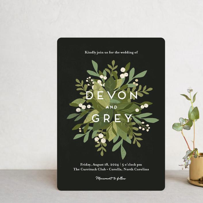 """Laurel of Greens"" - Wedding Invitation Petite Cards in Midnight by Jennifer Wick."