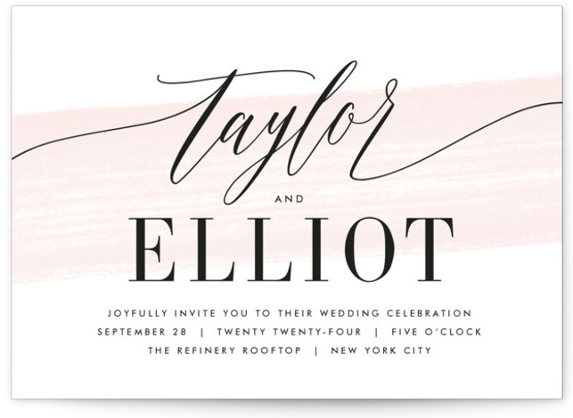 This is a landscape pink Wedding Invitations by Kristie Kern called Effervescent with Standard printing on Signature in Petite Flat Card format. A modern and fresh typographic design featuring a light painted swash.