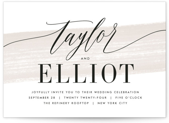 This is a landscape beige Wedding Invitations by Kristie Kern called Effervescent with Standard printing on Signature in Petite Flat Card format. A modern and fresh typographic design featuring a light painted swash.