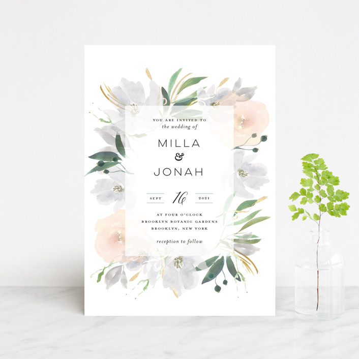 """Grande Botanique"" - Wedding Invitation Petite Cards in Mist by Bonjour Paper."