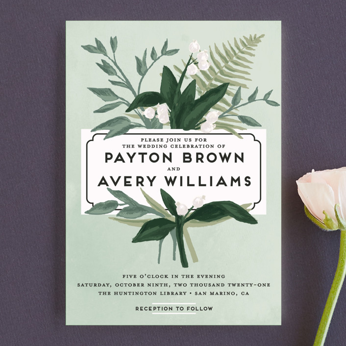 """""""Botanical Name Plate"""" - Wedding Invitation Petite Cards in Sage by Shiny Penny Studio."""