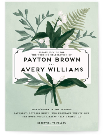This is a portrait botanical, green Wedding Invitations by Shiny Penny Studio called Botanical Name Plate with Standard printing on Signature in Petite Flat Card format. This wedding invitation, inspired by vintage botanical prints, features painterly florals and foliage framing ...