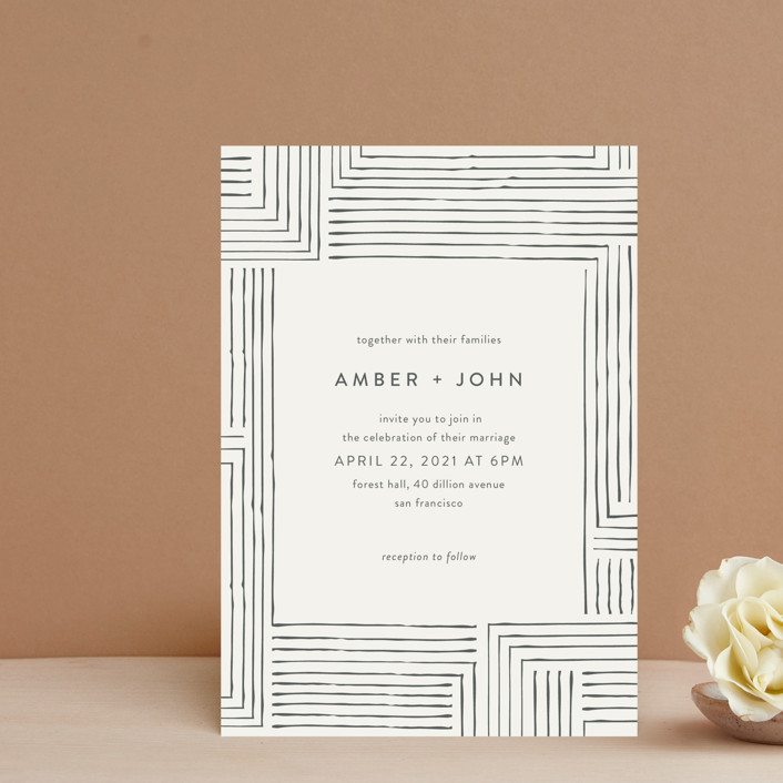 """""""Pattern Play"""" - Wedding Invitation Petite Cards in Pebble by Seven Swans."""