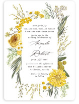 This is a yellow petite wedding invitation by Susan Moyal called Organic Florals with standard printing on signature in petite.