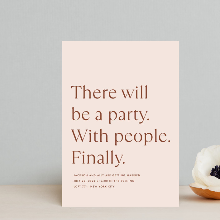 """""""There Will Be a Party"""" - Funny Wedding Invitation Petite Cards in Terra Cotta by Amy Payne."""
