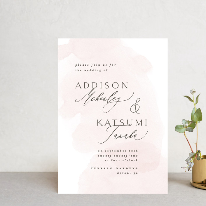 """""""Softly Layered"""" - Wedding Invitation Petite Cards in Blush by Everett Paper Goods."""