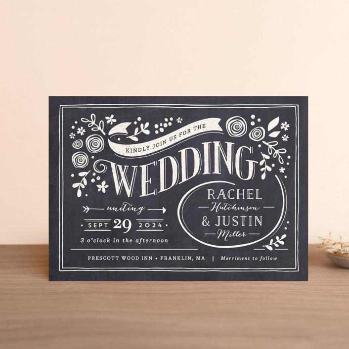 """Alabaster Florals"" - Rustic Wedding Invitation Petite Cards in Slate by Jennifer Wick."