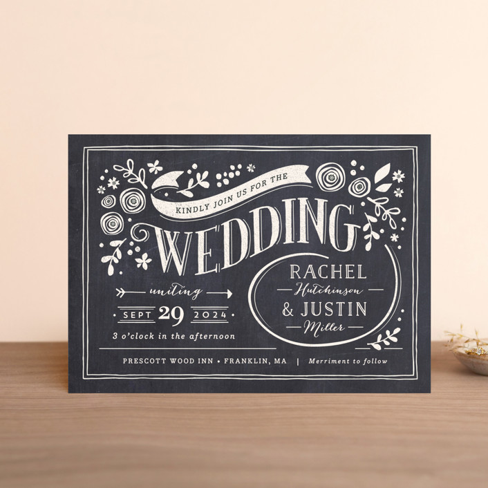 """Alabaster Florals"" - Rustic Wedding Invitation Petite Cards in Slate by Jennifer Wick."