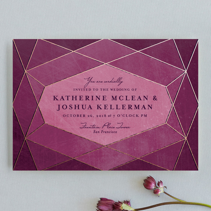 """Abstract Jewel"" - Wedding Invitation Petite Cards in Amethyst by Rebecca Bowen."