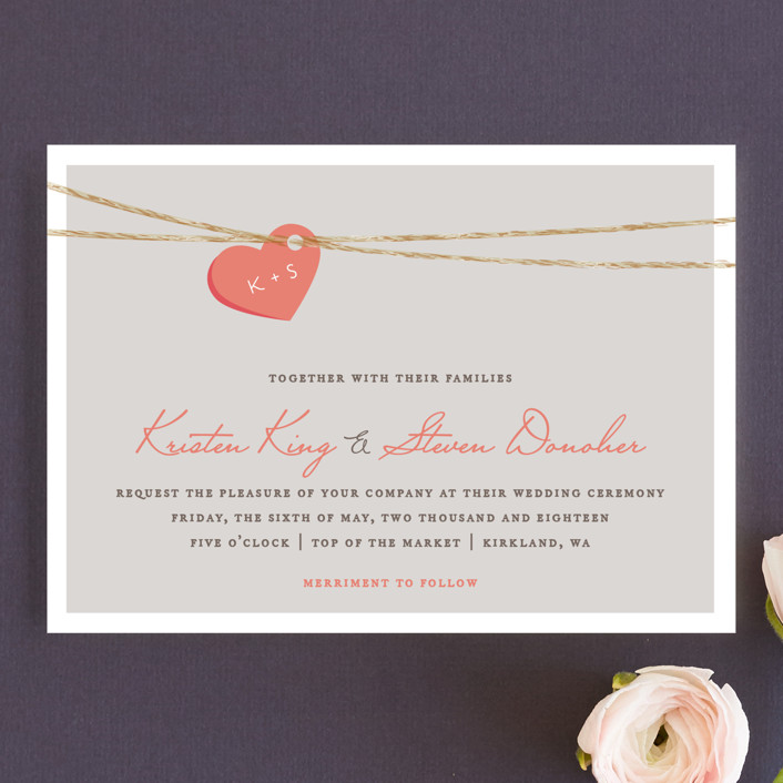 """Tangled Love"" - Whimsical & Funny Wedding Invitation Petite Cards in Petal by Jennifer Postorino."