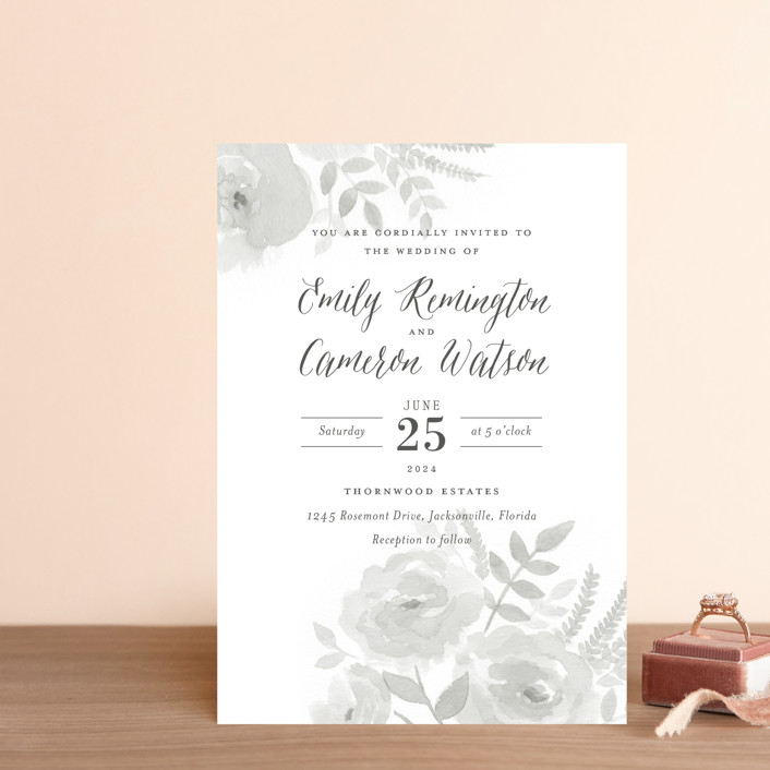 """Watercolor Floral"" - Wedding Invitation Petite Cards in Fog by Jill Means."